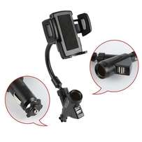 Universal Dual USB Port With Cigarette Slot & Car Phone Holder,