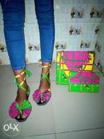 Ankara slippers, sandals and bags