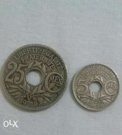 Two French Francs Coins with holes 25 & 5 centimes year 1920& 1938