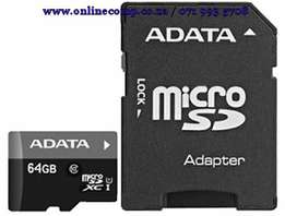 ADATA 64GB Micro SD With SD Adapter Card