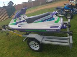 Bombardier Twin carb 3 Seater jetski + Trailer