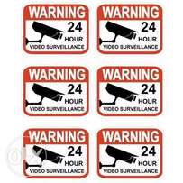 Set of 6 Professional Popular Video Surveillance Stickers Sign