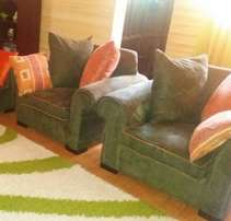 7 seater jungle green suede sofa sets