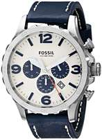 Fossil Men's JR1480 Nate Stainless Steel Chronograph Watch, Leather
