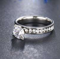 Beautiful Stainless Steel CZ Fashion Ring - Size 8 1/4