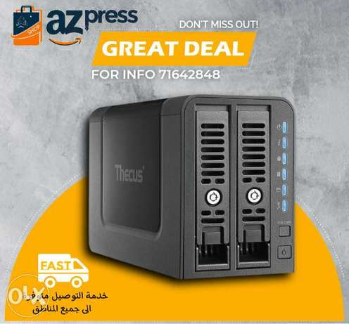 Thecus 2-Bay NAS Marvell Armada 385 Dual Core 1.0GHz 1GB RAM 2 USB 3.0
