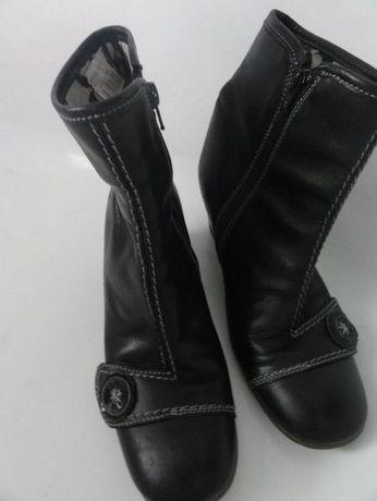 Buty Ecco, czarne, na koturnie, skóra, r. 39