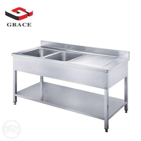 2 Sink With Table Stainless Steel 1.8m