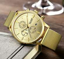 Original Megir chronograph quartz gold chain wristwatch