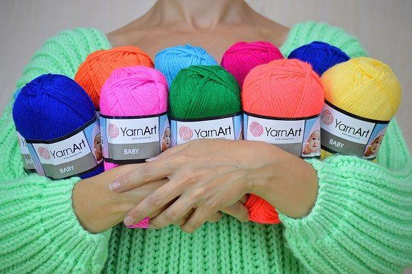 распродаю пряжу Yarnart Baby детский акрил нитки для вязания