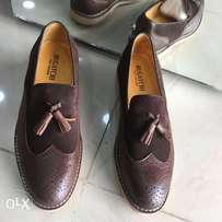 Bugatchi Tassel Leather Shoes in Brown