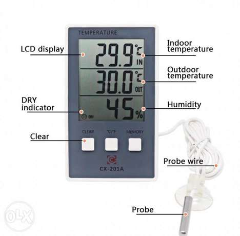 LCD Digital Weather Station Thermometer Hygrometer In/Out Temperature