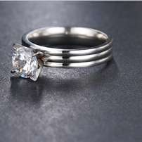 Beautiful Stainless Steel CZ Fashion Ring - Size 8