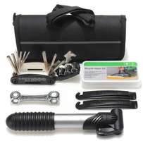 Bicycle Cycling Tool Tire Tyre Multi Repair Kits Bag with Pouch Pump