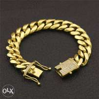 Gold Stainless Cuban Link with Iced Out Clasp Bracelet