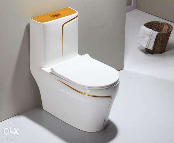 luxury black wc toilet desigh model with gold line Riyadh - image 7