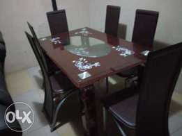 QS By 6 Sitter Quality Glass Dining Table (New)