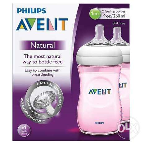 Philips Avent - Natural Bottle Pink 260ml Pack of 2