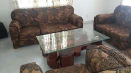 7 seater sofa set with coffee table n stools