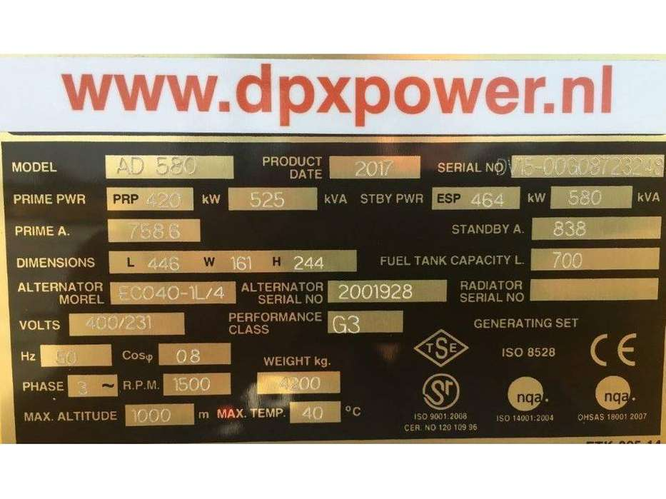 Doosan DP158LD - 580 kVA Generator - DPX-15557 - 2019 - image 4
