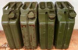 4 Steel fuel Jerry cans - PRICE REDUCED FOR QUICK SALE