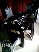 Q4 Four Sitter Glass Dining Set Table & Chairs