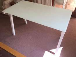 White metal frame table with glass top