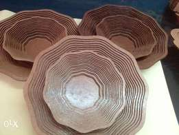 Wooden fruit bowls/ dining table centre pieces.