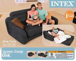 Double Pull-out Sofa And Airbed In Black