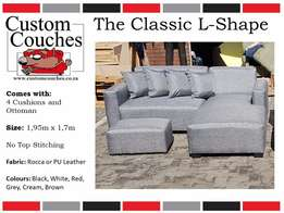Showroom Open Today at Custom Couches - The Classic L Shape R3250