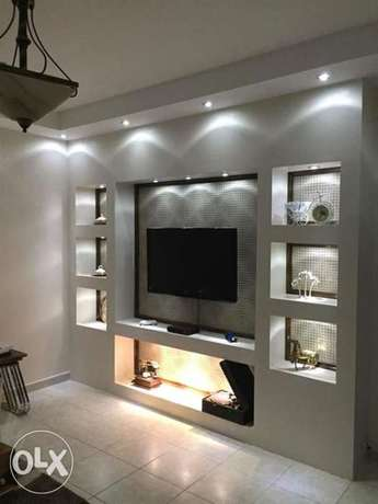 Gypsum and painting and lcd wall design