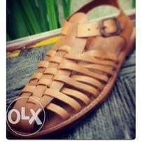 pure leather basket sandal