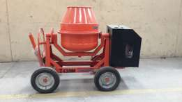 Concrete mixer complete with poker vibrator and shaft