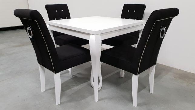 Zestaw Chesterfield Glamour Stół 90x904 Krzesła Pikowane