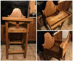 Wooden feeding chair for sale.