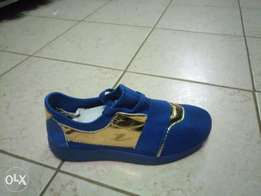 Blue golden shoes