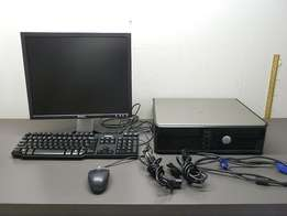 complete set of Dell computer desktops