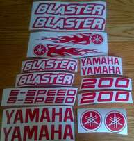Decals sticker kit for a Yamaha blaster quad bike