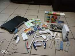 Nintendo wii with fitness board and accesories