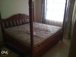 6x6 hardwood bed with poles - Used