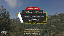 Land in Baatouta with UNOBSTRUCTED MOUNTAINS VIEW أرض في بعتوته
