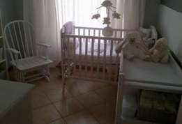 Cot, rocking chair and changing table for sale