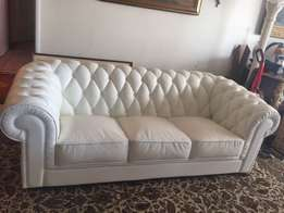 White 3 pcs genuine leather couch
