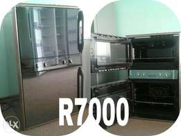 Defy metallic side by side fridge and a mirror look eye level oven