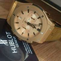 Hublot Geneve Brown leather Strap Wristwatch
