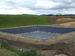 Lined water ponds and lined earth dam