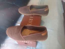 Brown suede carvela