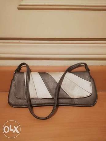 Grey, off white and Light gold Evening clutch