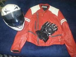 Helmet, jacket and gloves