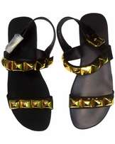 ZANOTTI (Men's Black Leather SandalL LAY WITH GOLD)